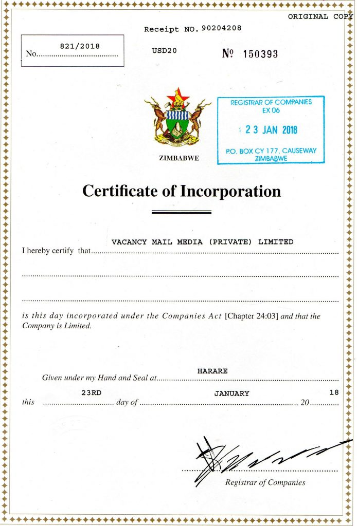 vacancy mail certificate incorporation